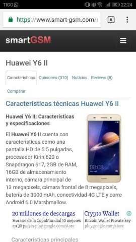 Vendo Huawei Y6ii 10/10 en 600